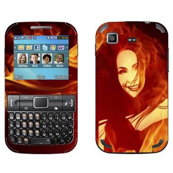 Виниловая наклейка «Пламенная девушка» на телефон Samsung C3222 Duos