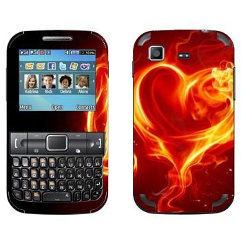 Виниловая наклейка «Пламенное сердце» на телефон Samsung C3222 Duos