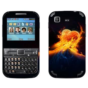 Виниловая наклейка «Сердце в огне» на телефон Samsung C3222 Duos