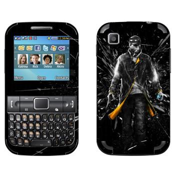 Виниловая наклейка «Watch Dogs - Эйден Пирс и осколки стекла» на телефон Samsung C3222 Duos