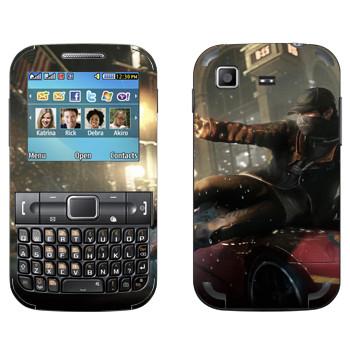 Виниловая наклейка «Watch Dogs - Эйден Пирс скользит по машине» на телефон Samsung C3222 Duos