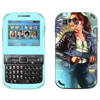 Виниловая наклейка «Деваха со штурмовой винтовкой - GTA 5» на телефон Samsung C3222 Duos