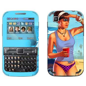 Виниловая наклейка «Девушка на пляже - GTA 5» на телефон Samsung C3222 Duos