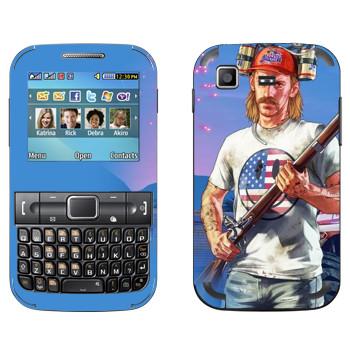 Виниловая наклейка «Мужик с ружьем в пивной шапке - GTA 5» на телефон Samsung C3222 Duos