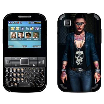 Виниловая наклейка «Татуированная девушка - Watch Dogs» на телефон Samsung C3222 Duos
