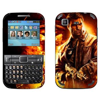 Виниловая наклейка «Wolfenstein -  В огне» на телефон Samsung C3222 Duos