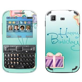 Виниловая наклейка «Happy birthday» на телефон Samsung C3222 Duos