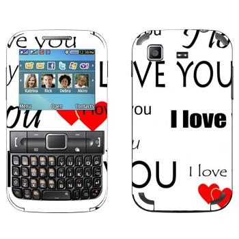 Виниловая наклейка «I Love You - День Святого Валентина» на телефон Samsung C3222 Duos
