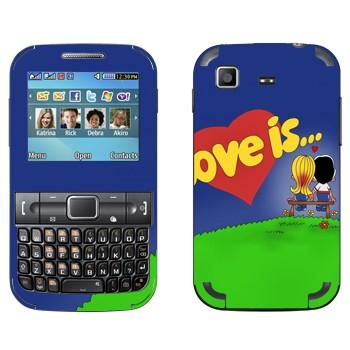 Виниловая наклейка «Love is... - День Святого Валентина» на телефон Samsung C3222 Duos