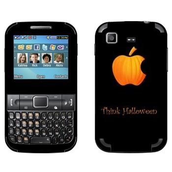 Виниловая наклейка «Лого Apple в виде тыквы - Хэллоуин» на телефон Samsung C3222 Duos