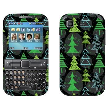Виниловая наклейка «Новогодние деревья узор» на телефон Samsung C3222 Duos