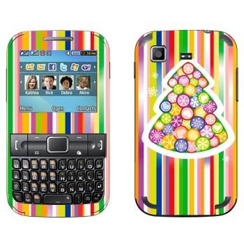 Виниловая наклейка «Новогодняя елка из разноцветных снежинок» на телефон Samsung C3222 Duos