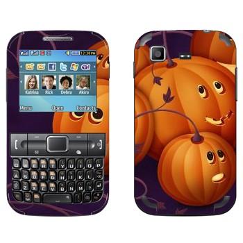 Виниловая наклейка «Няшные тыковки - Хэллоуин» на телефон Samsung C3222 Duos