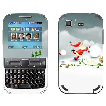 Виниловая наклейка «Санта-Клаус делает снеговика» на телефон Samsung C3222 Duos
