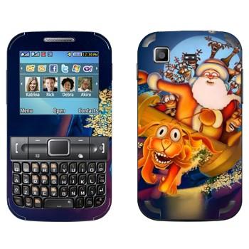 Виниловая наклейка «Санта-Клаус и веселые олени» на телефон Samsung C3222 Duos