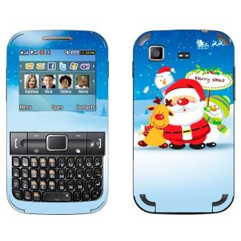Виниловая наклейка «Санта, олень и снеговики» на телефон Samsung C3222 Duos