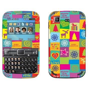 Виниловая наклейка «Счастливого Нового Года» на телефон Samsung C3222 Duos