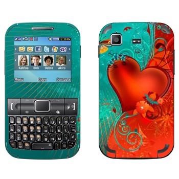 Виниловая наклейка «Сердце сине-красный фон - День Святого Валентина» на телефон Samsung C3222 Duos