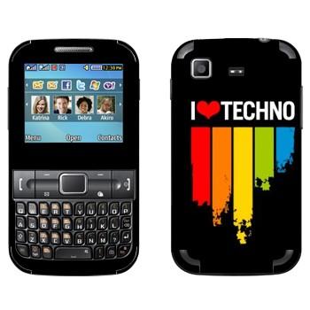 Виниловая наклейка «I love techno» на телефон Samsung C3222 Duos