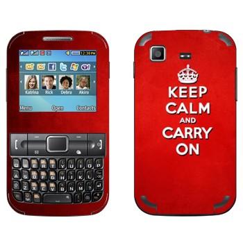 Виниловая наклейка «Keep calm and carry on - Надпись» на телефон Samsung C3222 Duos