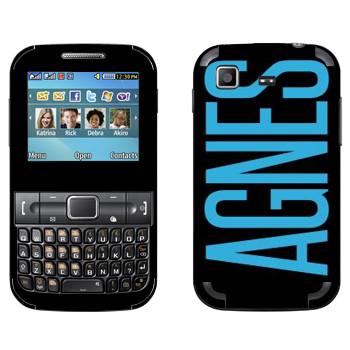 Виниловая наклейка «Agnes» на телефон Samsung C3222 Duos