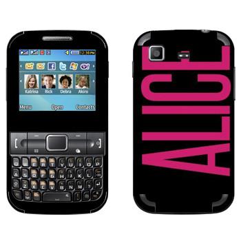 Виниловая наклейка «Alice» на телефон Samsung C3222 Duos