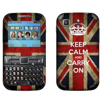 Виниловая наклейка «Keep calm and carry on» на телефон Samsung C3222 Duos