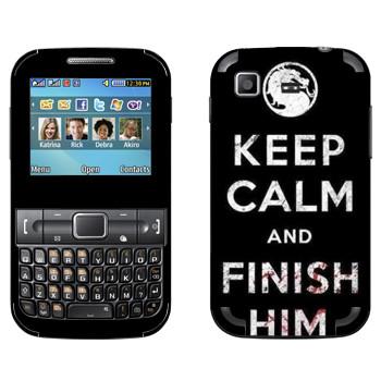 Виниловая наклейка «Keep calm and Finish him Mortal Kombat» на телефон Samsung C3222 Duos