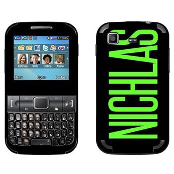 Виниловая наклейка «Nichlas» на телефон Samsung C3222 Duos