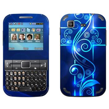 Виниловая наклейка «Голубой неоновый крест» на телефон Samsung C3222 Duos