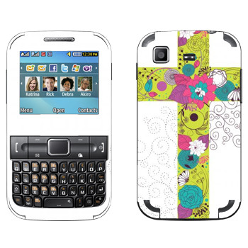 Виниловая наклейка «Крест из цветов» на телефон Samsung C3222 Duos