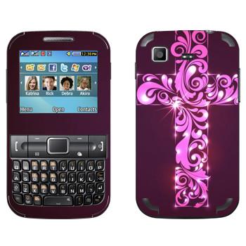 Виниловая наклейка «Розовый крест с узором» на телефон Samsung C3222 Duos