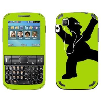 Виниловая наклейка «Гомер Симпсон с плеером» на телефон Samsung C3222 Duos