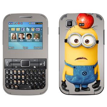 Виниловая наклейка «Миньон с яблоком на голове» на телефон Samsung C3222 Duos