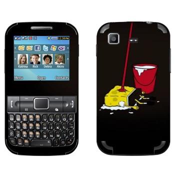 Виниловая наклейка «СпанджБоб на швабре» на телефон Samsung C3222 Duos