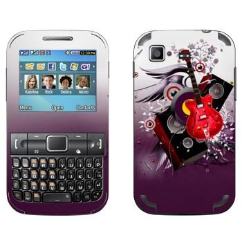 Виниловая наклейка «Гитара и колонки» на телефон Samsung C3222 Duos