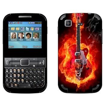 Виниловая наклейка «Гитара в огне» на телефон Samsung C3222 Duos