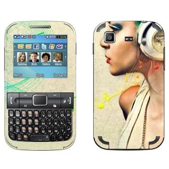 Виниловая наклейка «Музыка в наушниках» на телефон Samsung C3222 Duos