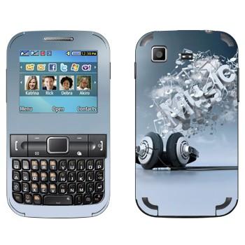 Виниловая наклейка «Наушники и надпись Music» на телефон Samsung C3222 Duos