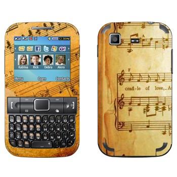 Виниловая наклейка «Ноты в старой тетраде» на телефон Samsung C3222 Duos