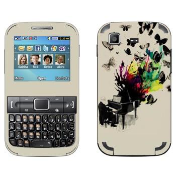 Виниловая наклейка «Рояль с бабочками» на телефон Samsung C3222 Duos