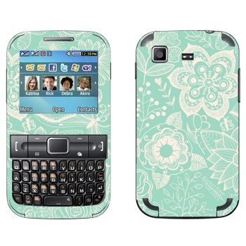 Виниловая наклейка «Белые цветы на голубом фоне» на телефон Samsung C3222 Duos