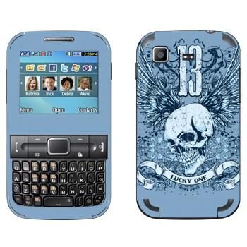 Виниловая наклейка «Череп с крыльями Lucky One» на телефон Samsung C3222 Duos