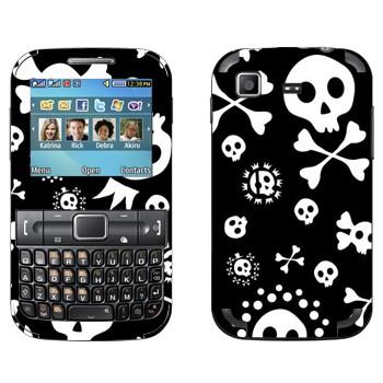 Виниловая наклейка «Черепа на черном фоне» на телефон Samsung C3222 Duos
