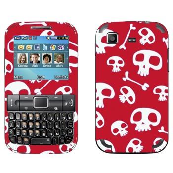 Виниловая наклейка «Черепа на красном» на телефон Samsung C3222 Duos