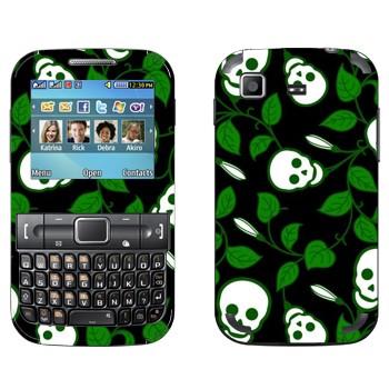 Виниловая наклейка «Черепа на зеленых ветках» на телефон Samsung C3222 Duos
