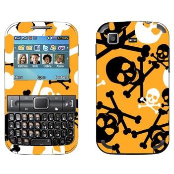 Виниловая наклейка «Черно-белые Весёлые Роджеры на желтом фоне» на телефон Samsung C3222 Duos