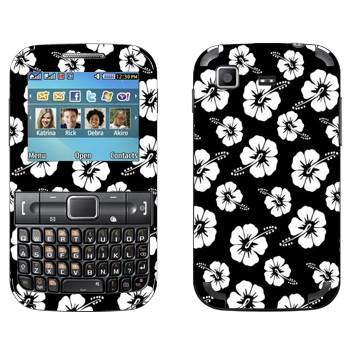 Виниловая наклейка «Гавайские цветы черно-белые» на телефон Samsung C3222 Duos