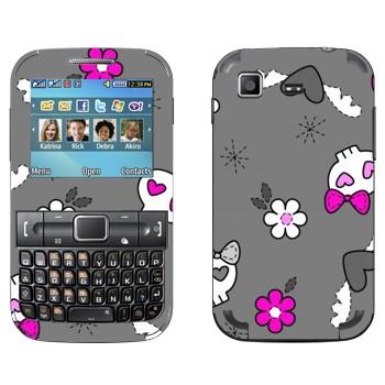 Виниловая наклейка «Гламурные черепа» на телефон Samsung C3222 Duos