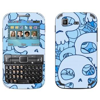 Виниловая наклейка «Голубые черепа» на телефон Samsung C3222 Duos